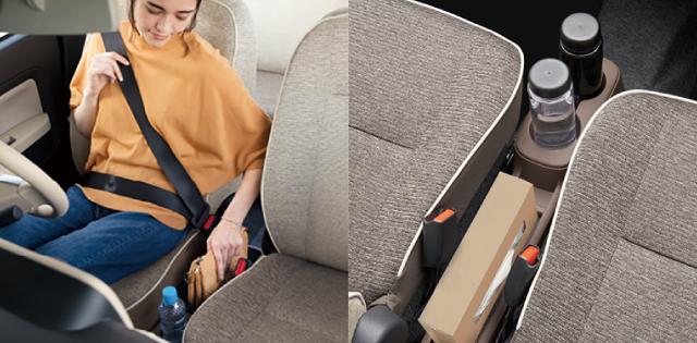 バッグや飲み物、すぐ脇にちょい置き。バッグなどが手近に収まり、お財布などもスマートに取り出せます。